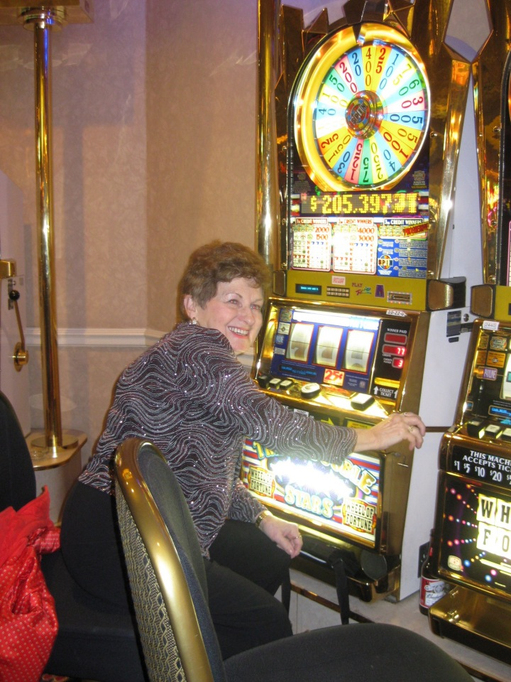 Grandma Dot playing the slots - Wheel of Fortune, her favourite!